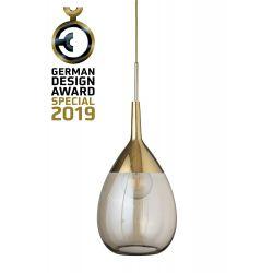 Suspension goutte design en verre soufflé Lute, diamètre 31 cm, Ebb & Flow, Doré fumé, partie supérieure doré et câble doré