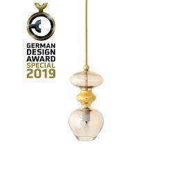 Suspension verre soufflé Futura, diamètre 11 cm, Ebb & Flow, Doré fumé, partie supérieure doré et câble doré