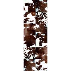 Tapis vinyle Patchwork peau de vache rectangulaire, 95x300cm, collection Mountain Sélection, Pôdevache