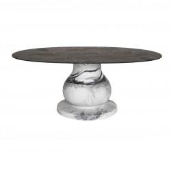 Table Ottocento L, base effet marbre plateau rond finition ardoise, 140cm, Slide