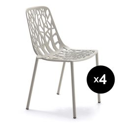 Lot de 4 chaises design Forest, Fast gris poudré