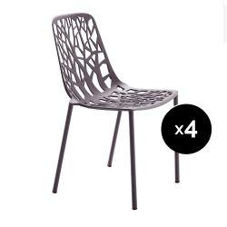 Lot de 4 chaises design Forest, Fast bleu nuit