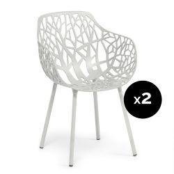 Lot de 2 fauteuils design Forest, Fast blanc