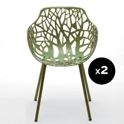 Lot de 2 fauteuils design Forest, Fast thé vert