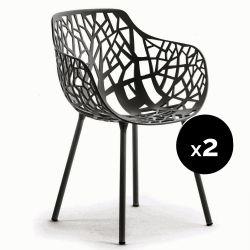 Lot de 2 fauteuils design Forest, Fast gris métal