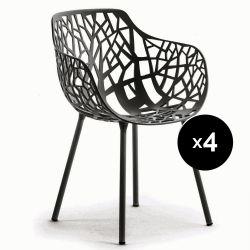 Lot de 4 fauteuils design Forest, Fast gris métal