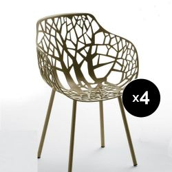 Lot de 4 fauteuils design Forest, Fast or perlé