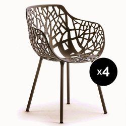 Lot de 4 fauteuils design Forest, Fast brun foncé