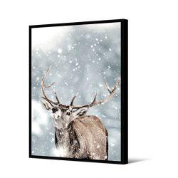 Toile encadré Cerf dans la neige 80 x 120 cm, collection My gallery, Pôdevache