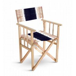 Chaise metteur en scène Tie and Dye Rose et Bleu, collection Ride or Dye, Pôdevache