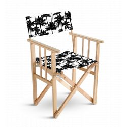 Chaise metteur en scène Palmiers noir et blanc, collection On dirait le sud, Pôdevache