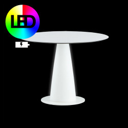 Table ronde Hoplà lumineuse Led RGB, sans fil à batterie, Slide, D100xH72 cm
