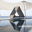 Lit de soleil design, Daybed Frame Vineyard taupe, Vondom, avec toit, 2 matelas inclinables, coussins Silvertex