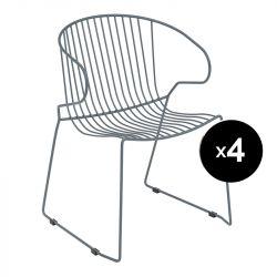 Lot de 4 fauteuils Bolonia, Isimar, gris pierre