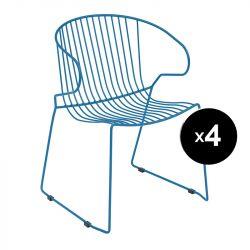 Lot de 4 fauteuils Bolonia, Isimar, bleu ultra marine
