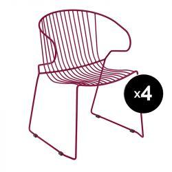 Lot de 4 fauteuils Bolonia, Isimar, rouge vin