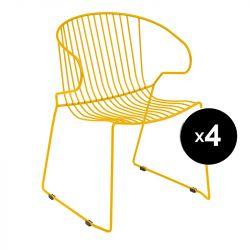 Lot de 4 fauteuils Bolonia, Isimar, miel