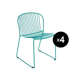 Lot de 4 chaises Bolonia, Isimar, bleu agata