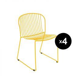 Lot de 4 chaises Bolonia, Isimar, jaune miel