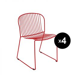 Lot de 4 chaises Bolonia, Isimar, rouge tomate