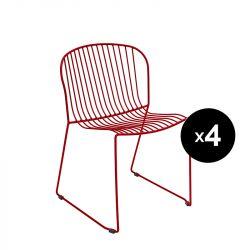 Lot de 4 chaises Bolonia, Isimar, rouge vin