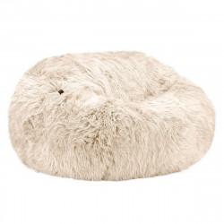 Pouf 2 places Vetsak, taille L, fausse fourrure à poils longs beige, D140cm x H90 cm