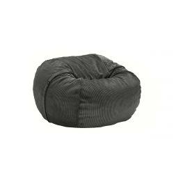 Pouf Vetsak, taille M, velour cotelé gris foncé