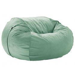 Pouf 2 places Vetsak, taille L, velours vert menthe, D140cm x H90 cm