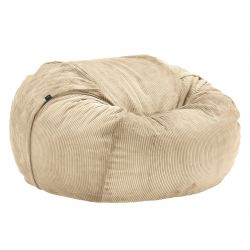 Pouf Vetsak, taille L, velour cotelé sable