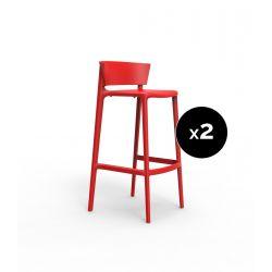 Set de 2 tabourets de bar Africa hauteur d'assise 74,5 cm, Vondom rouge