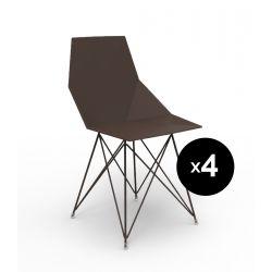 Lot de 4 chaises Faz inox, Vondom bronze Sans accoudoirs
