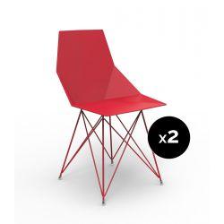 Lot de 2 chaises Faz inox, Vondom rouge Sans accoudoirs