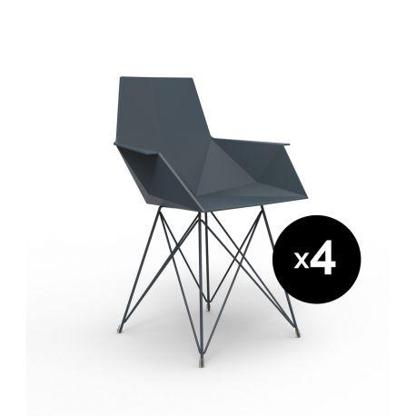 Lot de 4 chaises Faz inox, Vondom noir Avec accoudoirs