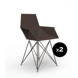 Lot de 2 chaises Faz inox, Vondom bronze Avec accoudoirs