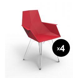 Lot de 4 Chaises avec accoudoirs Faz rouge, Vondom
