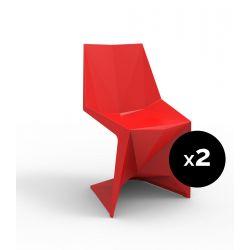 Lot de 2 chaises Voxel futuristes, Vondom rouge