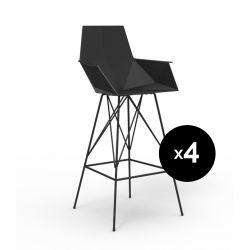 Lot 4 tabourets haut Faz, hauteur d'assise 75cm, Vondom noir Avec accoudoirs