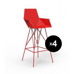 Lot 4 tabourets haut Faz, hauteur d'assise 75cm, Vondom rouge Avec accoudoirs