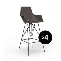 Lot 4 tabourets haut Faz, hauteur d'assise 66cm, Vondom bronze Avec accoudoirs