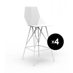 Lot 4 tabourets haut Faz 102 cm, hauteur d'assise 66 cm, Vondom blanc Sans accoudoirs