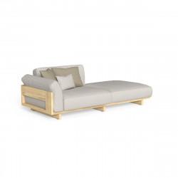 Canapé modulaire, angle gauche + pouf Argo, Talenti bois foncé & beige