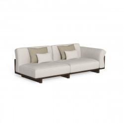 Canapé modulaire angle à gauche Argo, Talenti bois foncé & beige