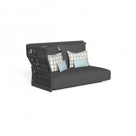 Canapé modulaire angle droit, dossier en corde Cliff, Talenti gris