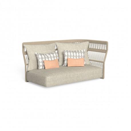 Canapé modulaire angle gauche, dossier en corde Cliff, Talenti beige