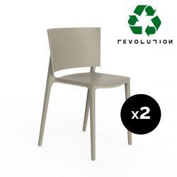 Set de 2 chaises Africa Revolution® en plastique recyclé, Vondom beige Cala 4021