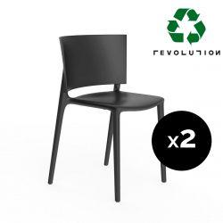 Set de 2 chaises Africa Revolution® en plastique recyclé, Vondom noir Manta 4022