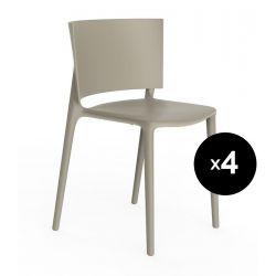 Set de 4 chaises Africa, Vondom écru