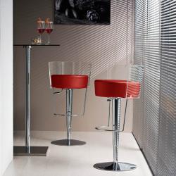 Tabouret design Bongo dossier transparent, Midj, hauteur d'assise réglable, assise cuir rouge