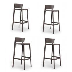 Set de 4 tabourets de cuisine design Africa, hauteur d'assise 65 cm, Vondom bronze