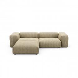 Canapé d\'angle Vetsak, velours côtelé couleur vert khaki L.231 x H.60 x P.115,5 cm